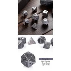 Metal & Enamel Dice Set (7pcs) Crude Iron