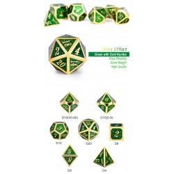 Metal & Enamel Dice Set (7pcs) Green Glitter