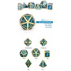 Metal & Enamel Dice Set (7pcs) Teal Glitter