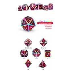 Metal & Enamel Dice Set (7pcs) Red Iridescence
