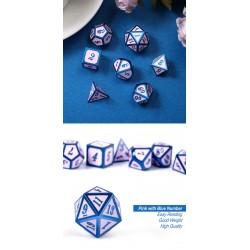 Metal & Enamel Dice Set (7pcs) Pink & Blue