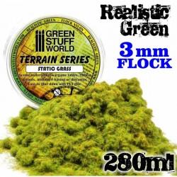 Static Grass Flock - Realistic Green 3 mm - 280 ml
