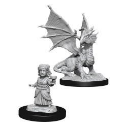 D&D Nolzur's Marvelous Miniatures Unpainted Silver Dragon Wyrmling & Female Halfling