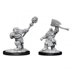 Magic the Gathering Unpainted Miniatures - Dwarf Fighter & Dwarf Cleric