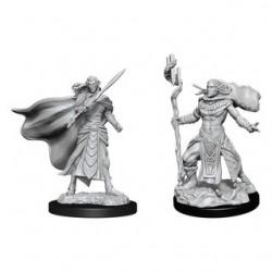 Magic the Gathering Unpainted Miniatures - Elf Fighter & Elf Cleric
